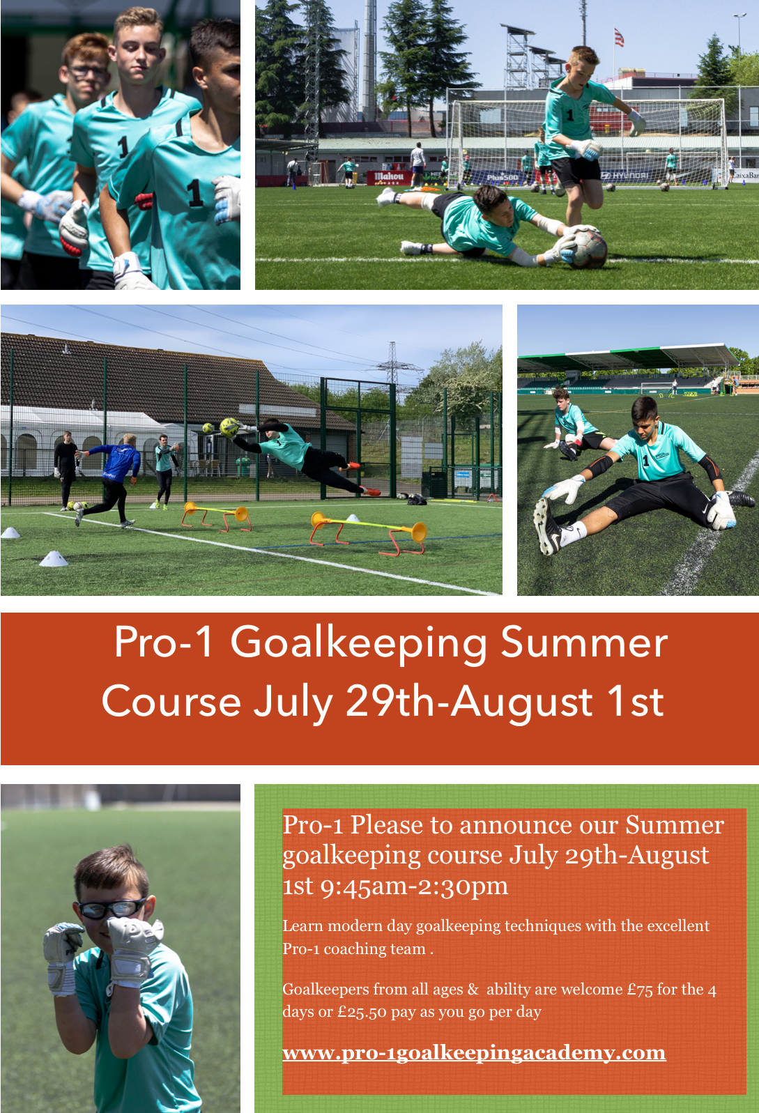 Pro-1 Goalkeeping Presents The Summer Camp